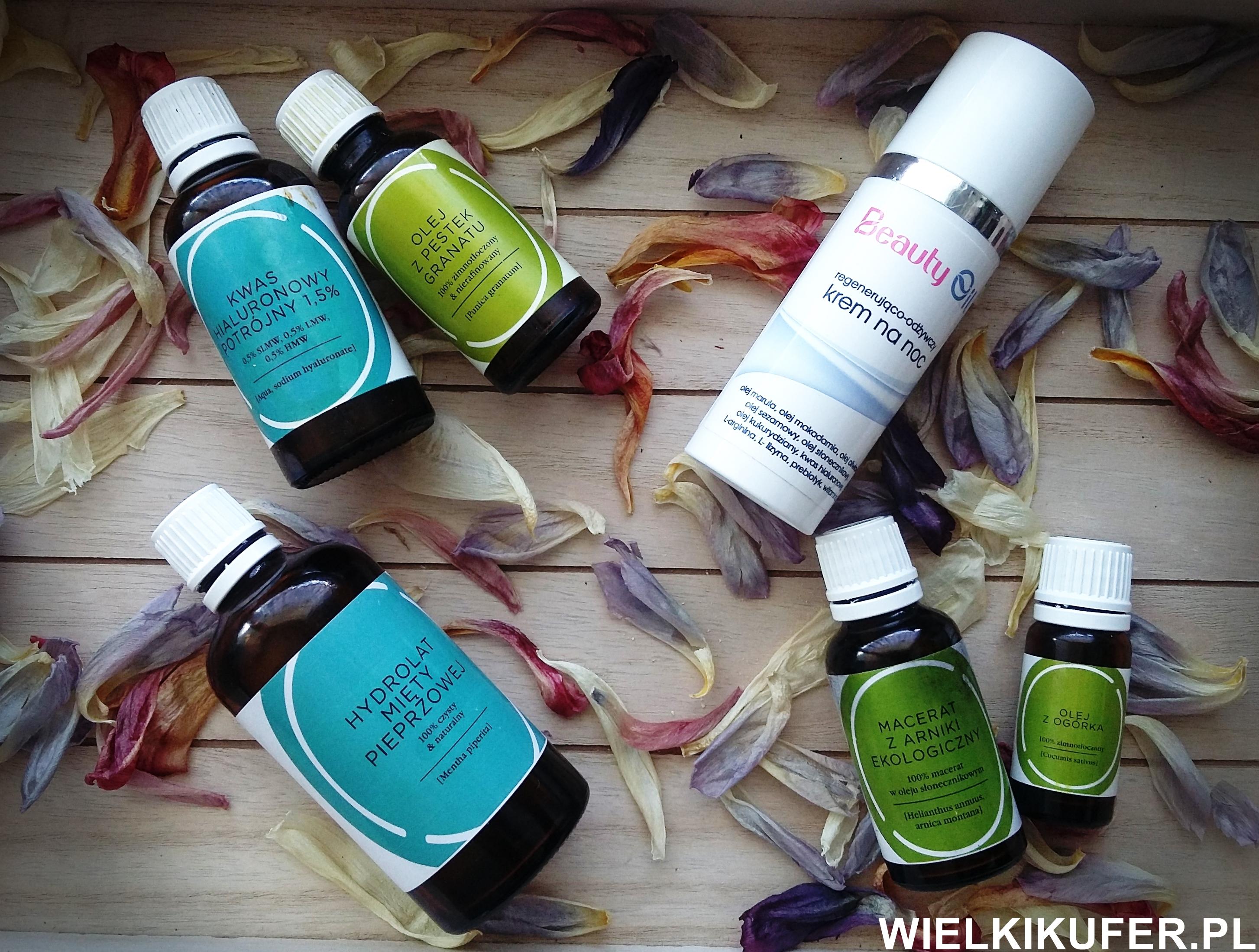 Wieczorna naturalna pielęgnacja skóry- oleje, hydrolaty, kwas hialuronowy, odżywczy naturalny krem