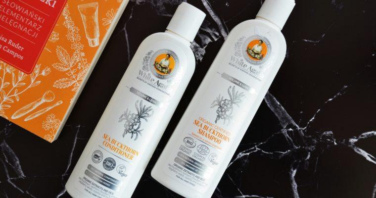 Receptury Babci Agafii, Biała Agafia, Organiczny szampon rokitnikowy i odżywka do włosów – Objętość i puszystość